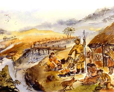 Artists impression of Mesolithic hunter/gatherers